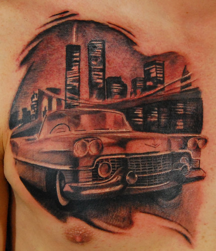 Town Car Tattoo On Chest