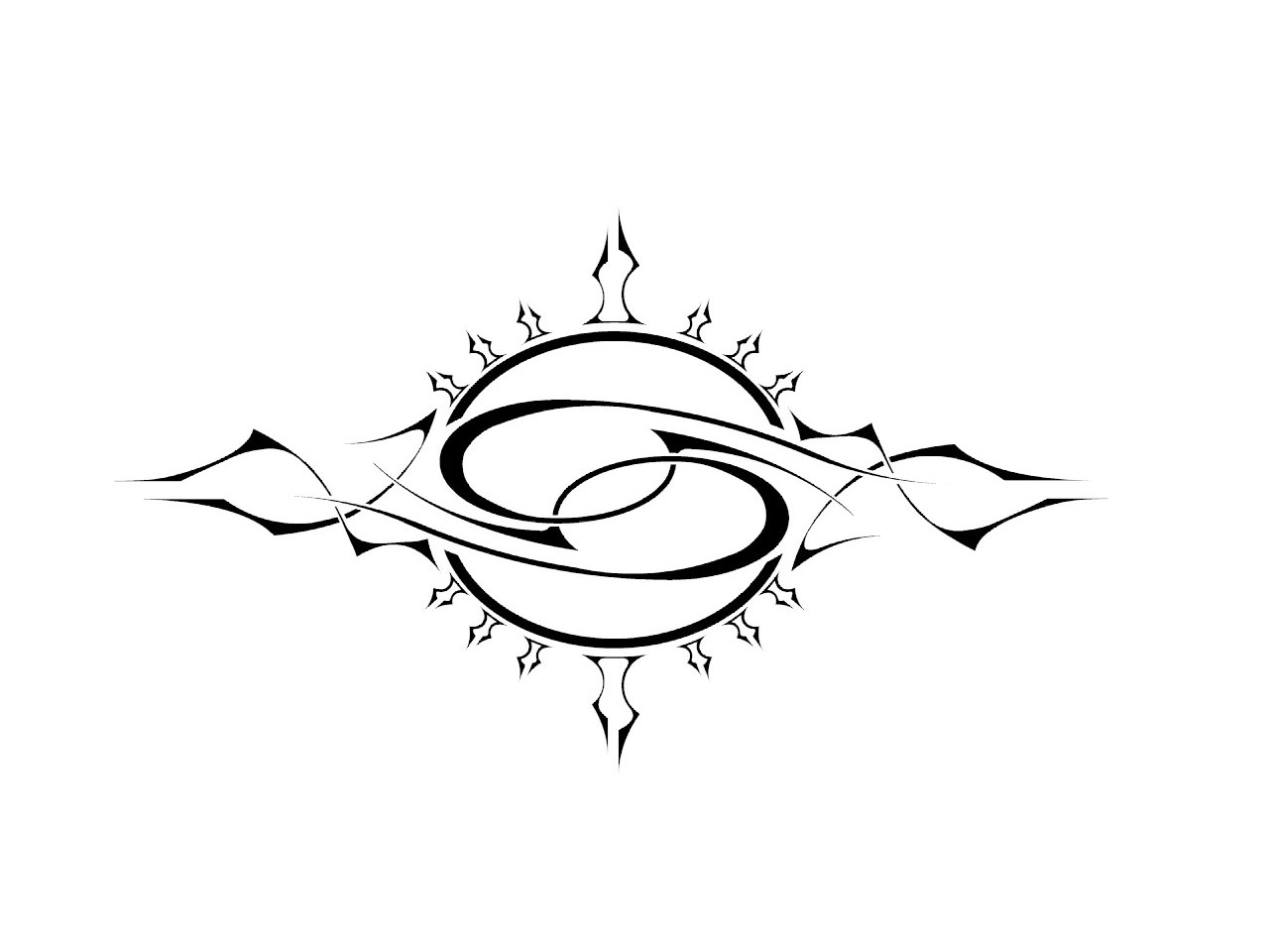 Tribal Cancer Birth Sign Tattoo Design