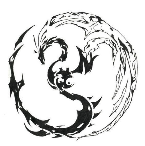 Tribal Circle Dragon Tattoo Design