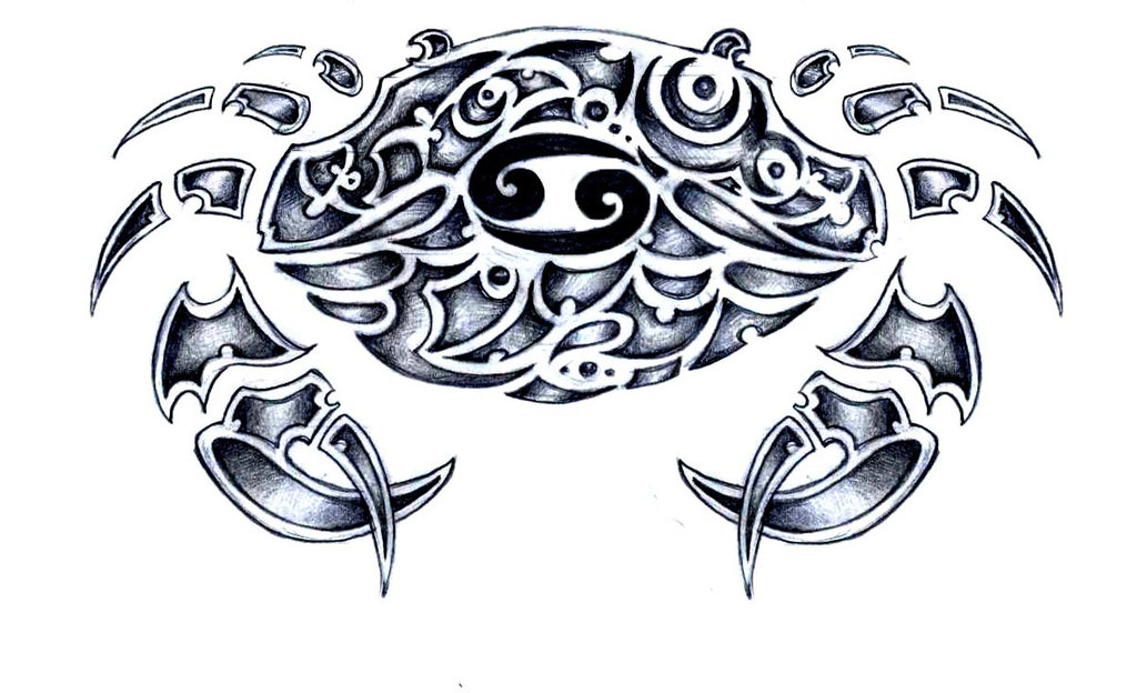 Tribal Zodiac Cancer Sign Tattoo Design