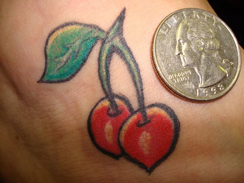Two Cherries Tattoo With Coin