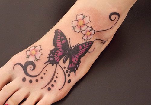 Ultimate Butterfly Tattoo On Foot