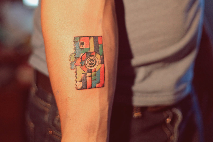 Unique Camera Tattoo With Color Ink