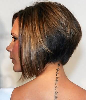 Victoria Beckham Neck Back Tattoo