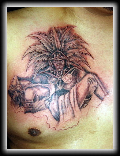Warrior Aztec Holding Maiden Tattoo On Chest