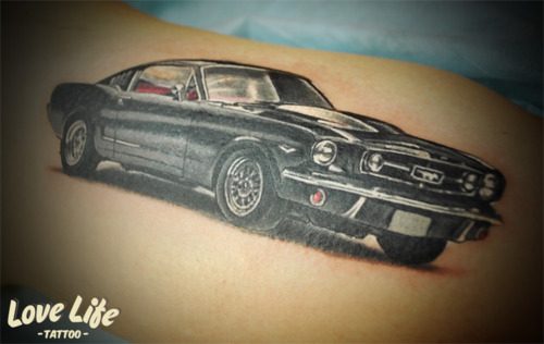 Wonderful Black Car Tattoo Design