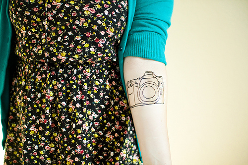 Outline Camera Tattoo Design For Girls