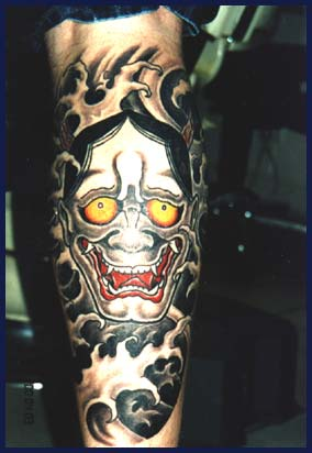Yellow Eyes Clown Tattoo Design