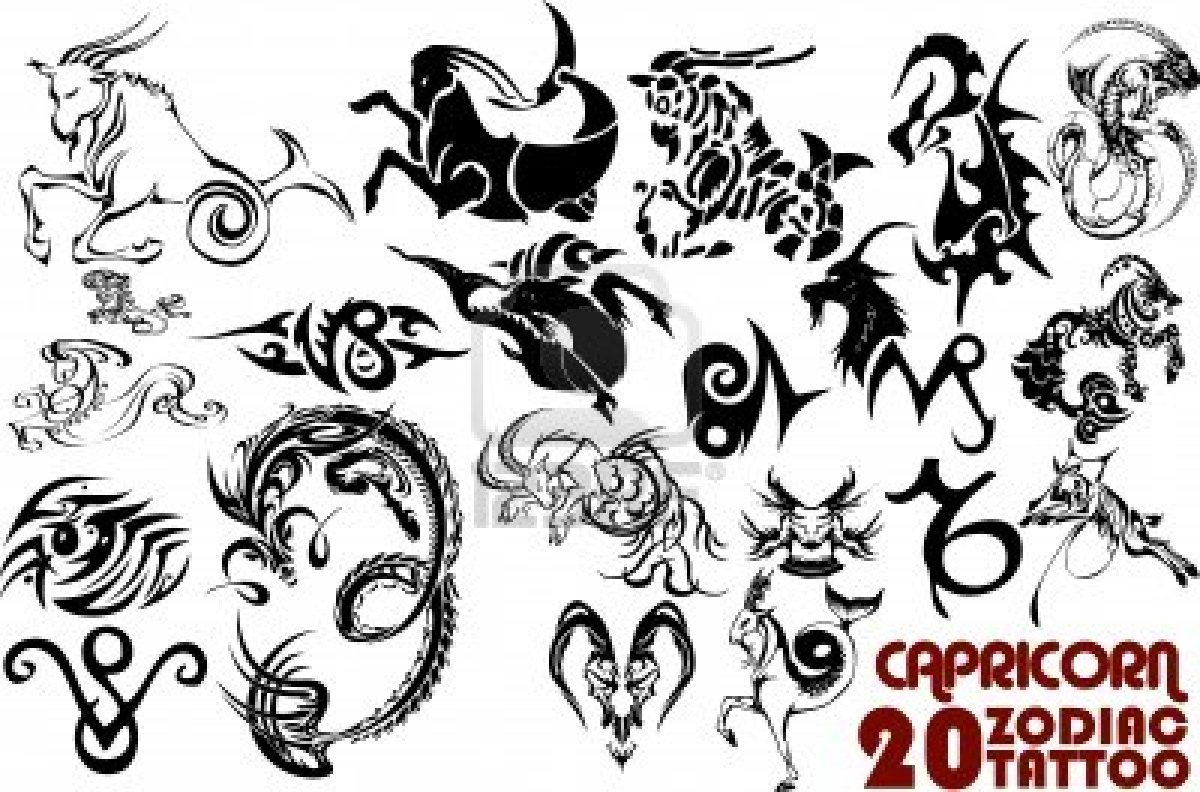 Capricorn Zodiac Tribal Tattoos Sign Tattoo