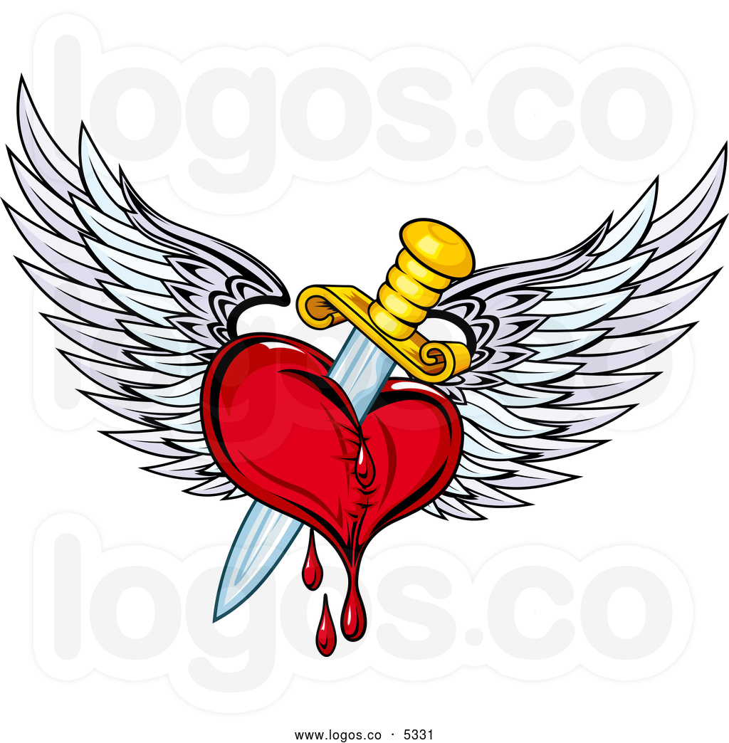 A Dagger Through A Bleeding Heart With Wings Tattoo Design