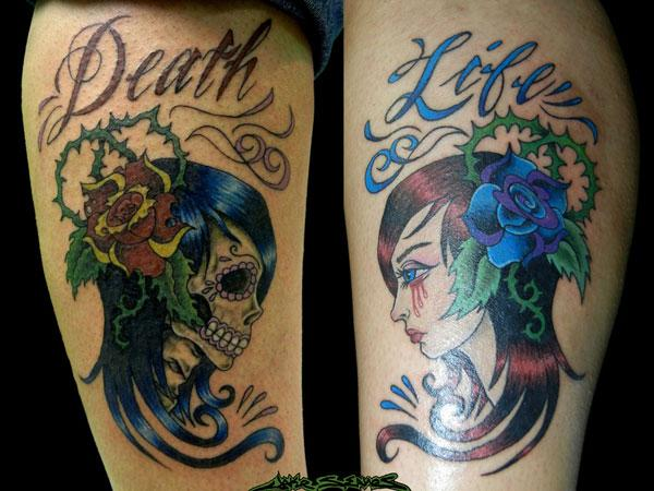 Amazing Death Life Tattoo Design
