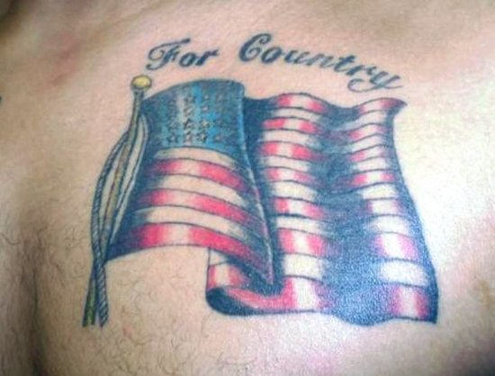 American Flag Tattoo On Chest