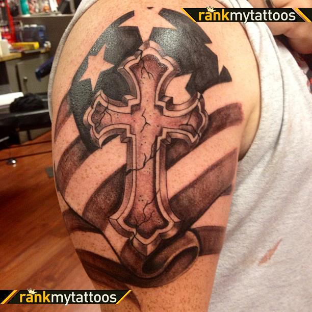 American Flag With Cross Tattoo On Shoulder