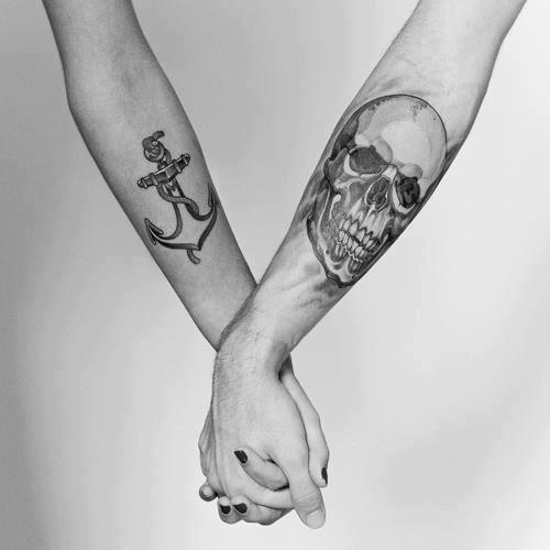 Anchor Skull Couple Tattoo Design