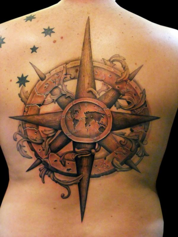 Ancient Compass Tattoo On Back For Men