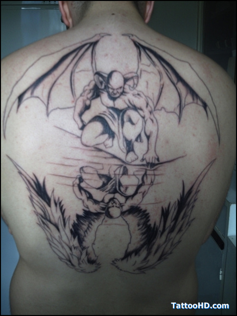 Angel Beat Devil Tattoo On Back