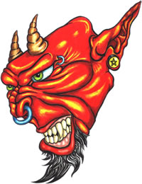 Angry Devil Face Tattoo Sample