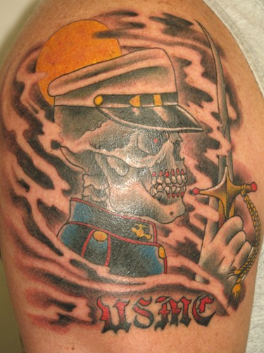Army Skull Soldier Holding Dagger Tattoo