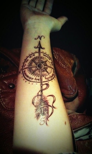 Arrow Compass Tattoo On Forearm