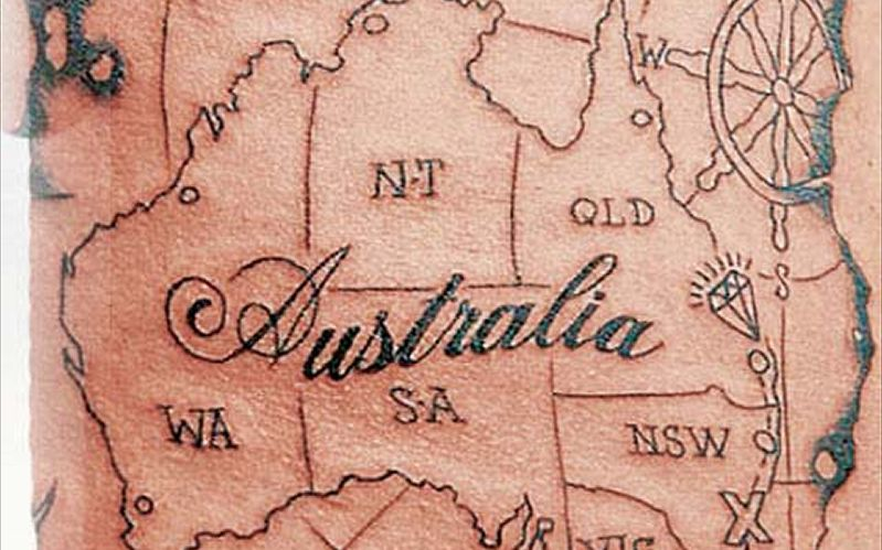 Australia Country Map Tattoo Design