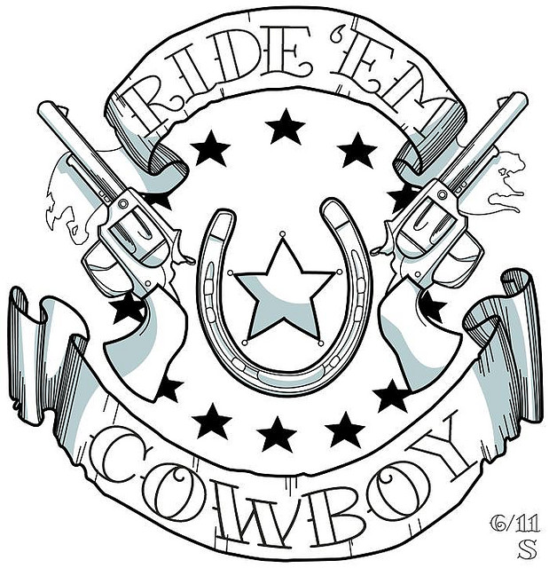Awesome Cowboy Tattoo Design