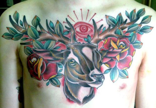 Awesome Deer n Roses Tattoo On Chest