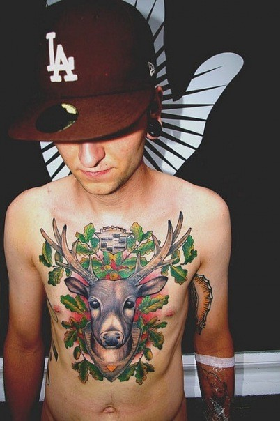 Awesome Deer Tattoo For Chest