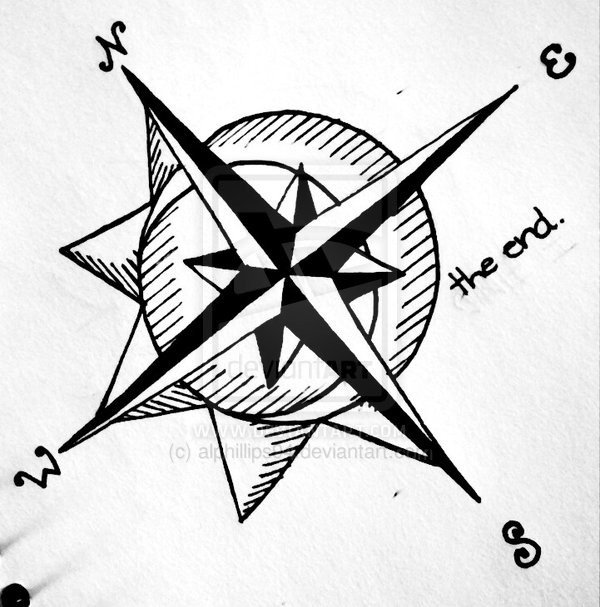 Awesome Nautical Compass Tattoo Design