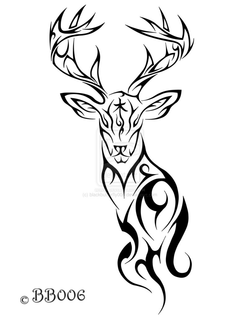 Celtic Stag Head on scary fish symbols