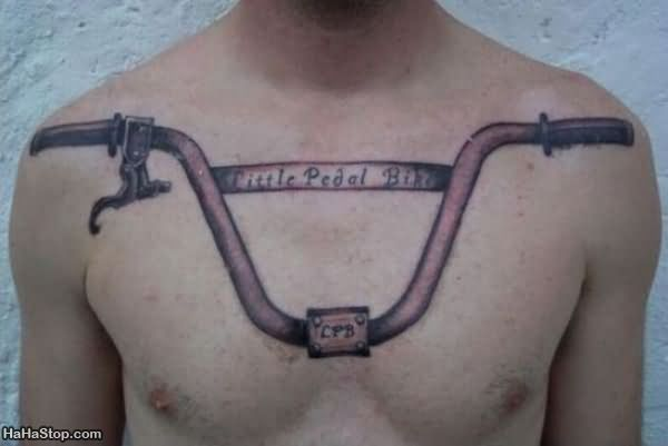 Bicycle Handle Tattoo On Chest