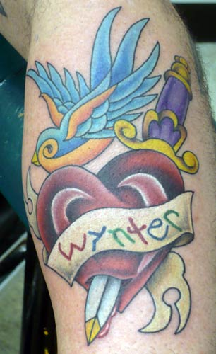 Bird n Heart Dagger Tattoo
