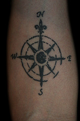 Black Ink Compass Tattoo Design