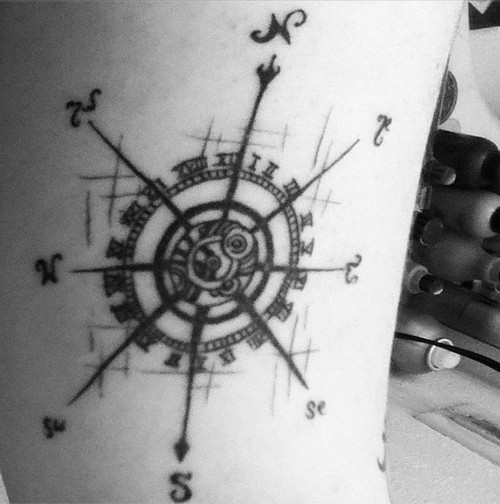 Black Ink Compass Tattoo