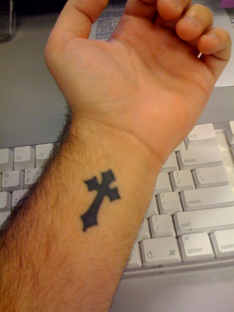 Black Ink Cross Tattoo On Wrist For Men
