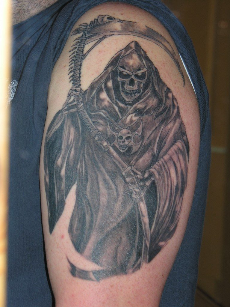 Black Ink Death Grim Reaper Tattoo On Shoulder