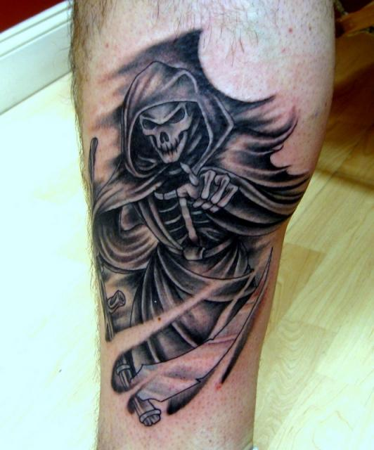 Black Ink Grim Reaper Death Tattoo Design