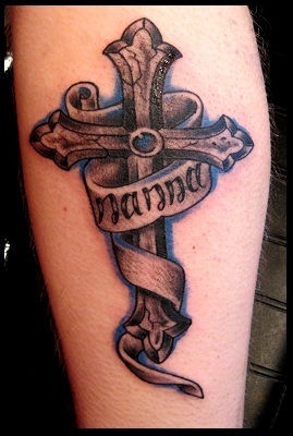 Black n Grey Cross With Banner Tattoo Design