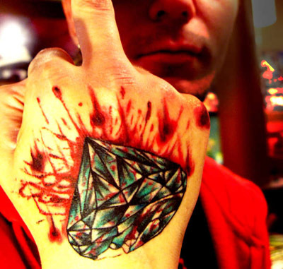 Bleeding Diamond Tattoo On Hand