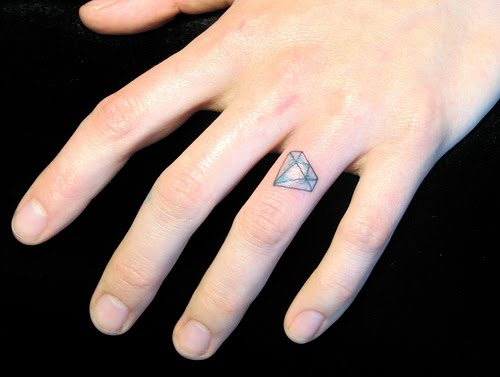 Blue Diamond Tattoo On Finger