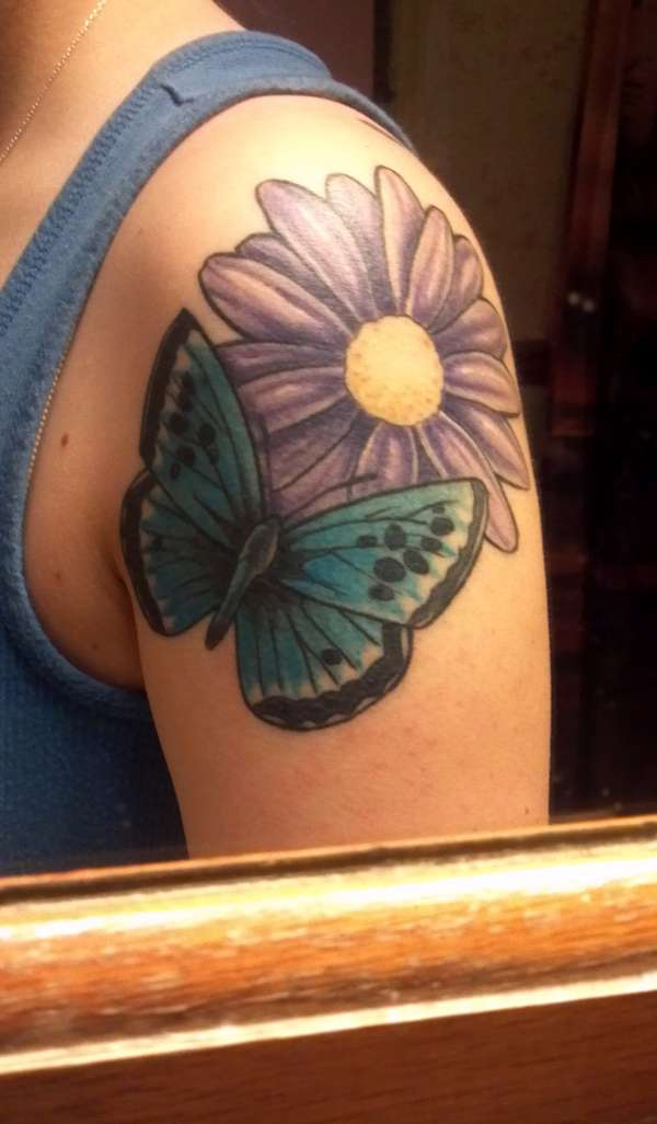 Butterfly and Purple Daisy Tattoo