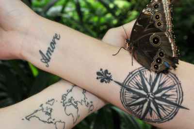 Butterfly Compass & World Map Tattoo On Wrists