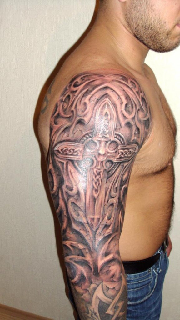 Celtic Cross Tattoo On Shoulder