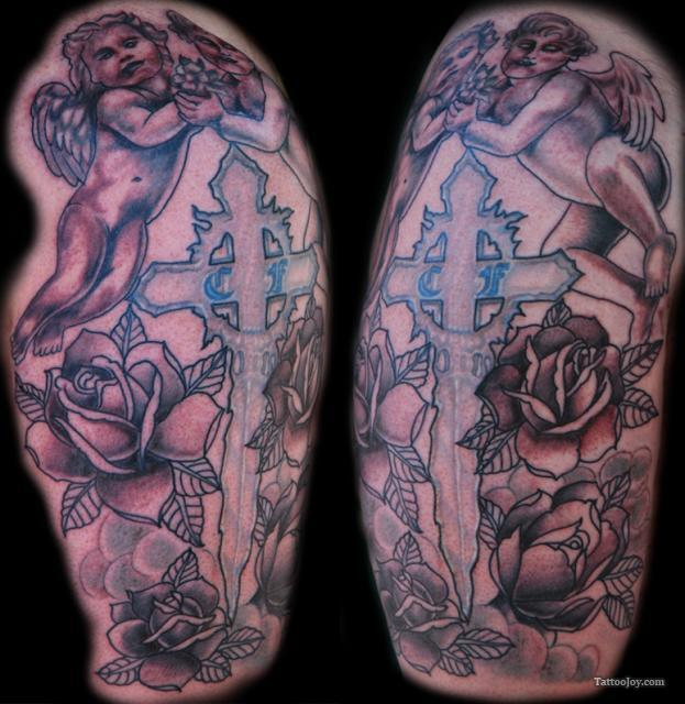 Cherub Cross n Roses Tattoo Design