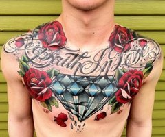 Chest Piece Diamond Roses Tattoo Design