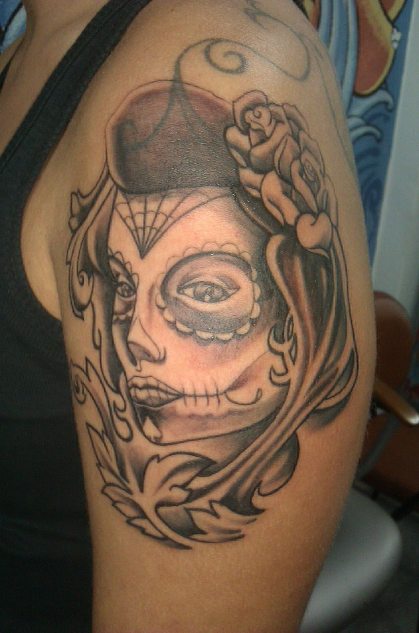 Clown Girl Tattoo On Shoulder