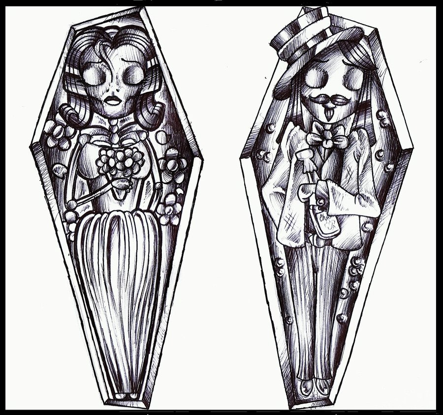 Coffin Bride & Groom Tattoo Design