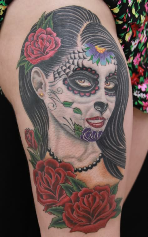 Color Dia De Los Muertos Tattoo On Shoulder