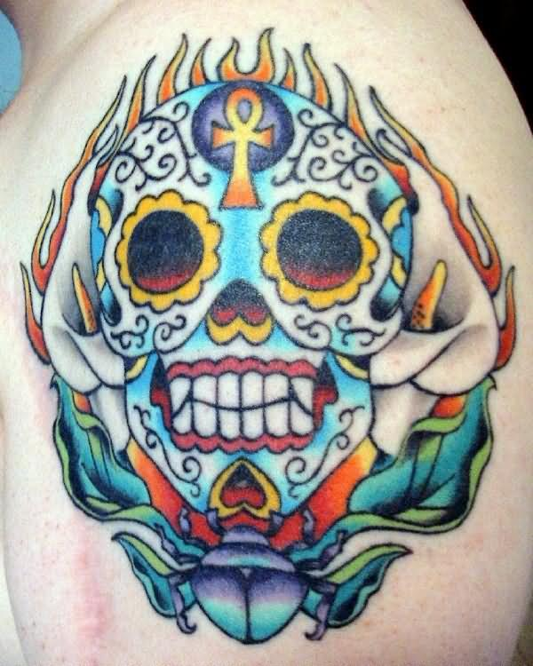 Color Skull Dia De Los Muertos Tattoo On Shoulder