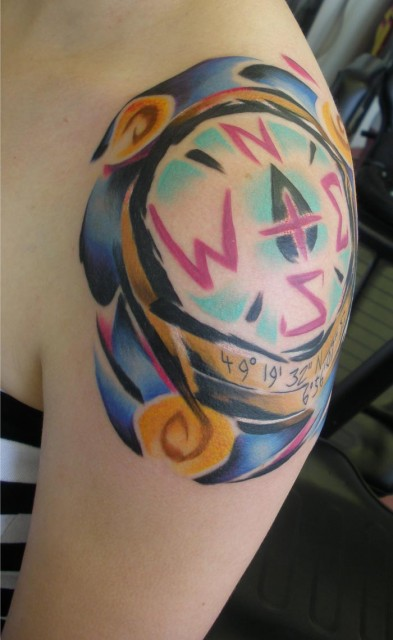 Colorful Compass Tattoo On Shoulder