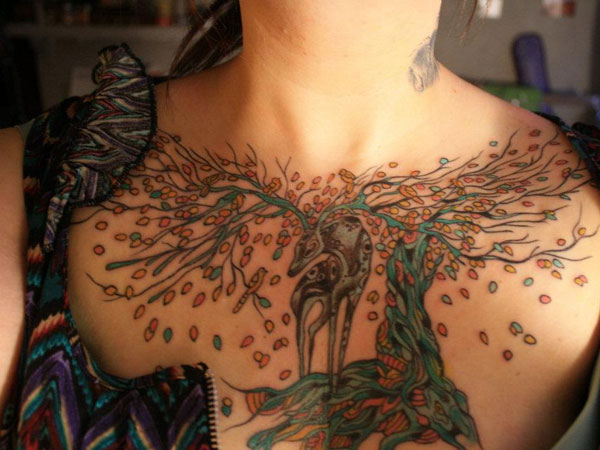 Colorful Deer Tattoo On Chest Of Girls